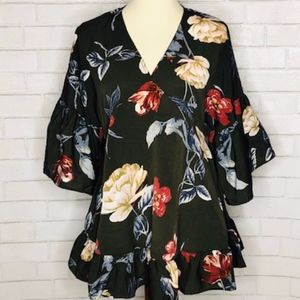 Altar'd State Floral Blouse with Bell Sleeves